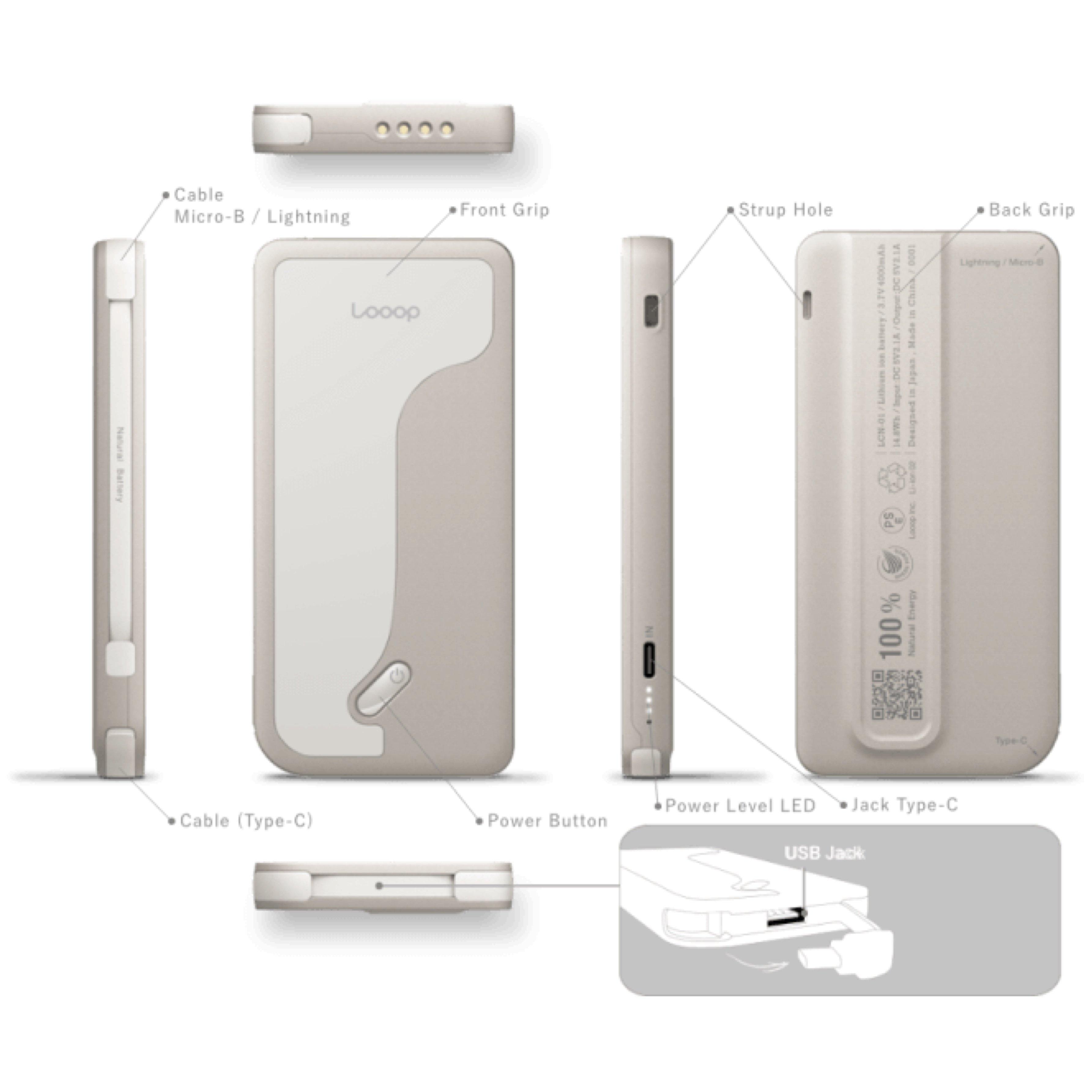 【店頭販売限定】Looop Charge モバイルバッテリー 4000mAh(PSE認証済み)のイメージその2