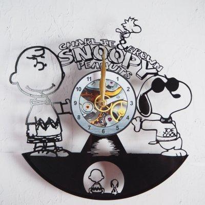 ピーナッツ スヌーピー&チャーリーブラウン レコード盤壁掛け時計 ウォールクロック