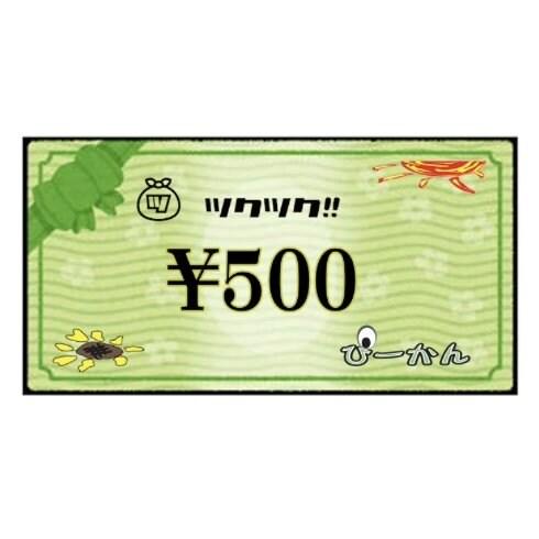 ぴーかん500円お買い物チケット(現地支払専用)のイメージその1