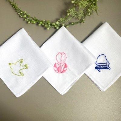 【人気3点セット】鳥、チューリップ、ピアノ 刺繍ミニハンカチ(20×20cm)