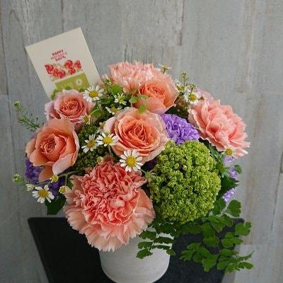 母の日・オレンジ&グリーンのフラワーアレンジメント【指定配達地域・...