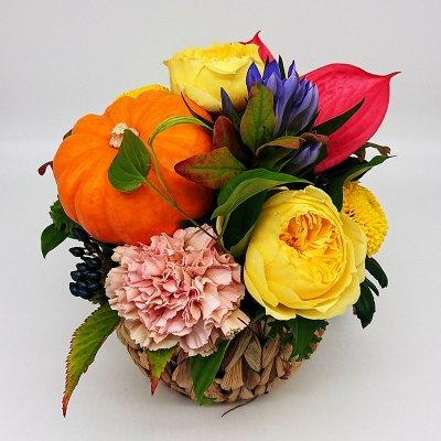 【ハロウィン限定】トイパンプキンのフラワーアレンジメント(イエロー&オレンジ)