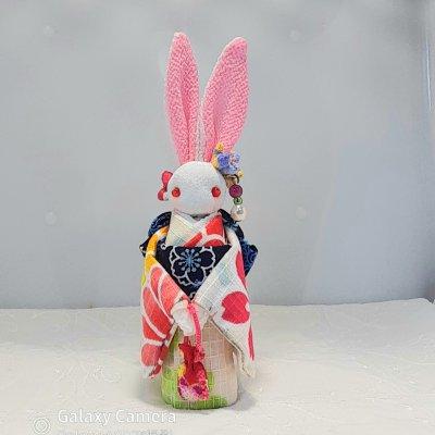 白地浴衣のかわいいウサギ人形