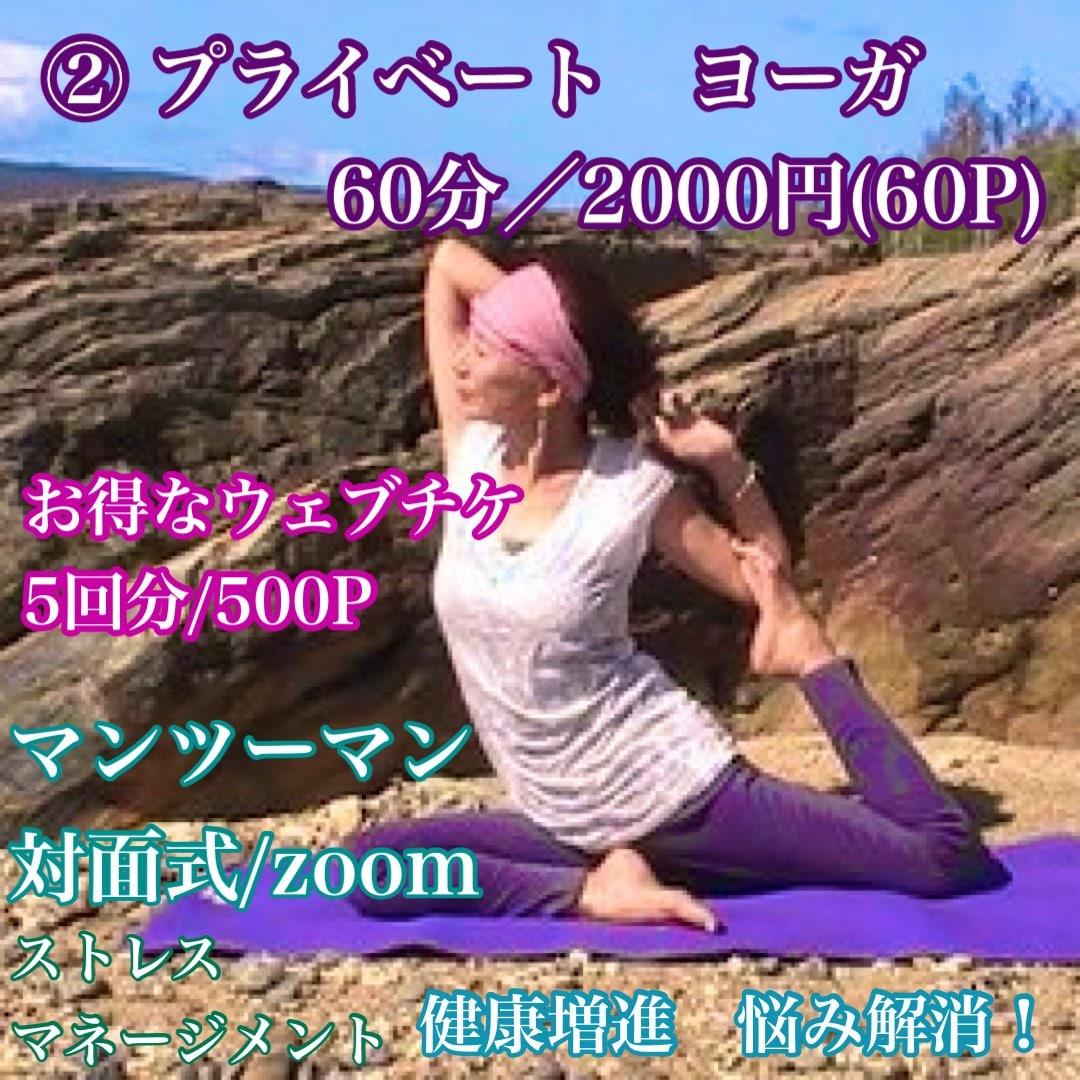 ②プライベートヨーガ/60分/2000円(60P)/お得なウェブチ5回分/500P/マンツーマン/対面式/Zoomのイメージその1