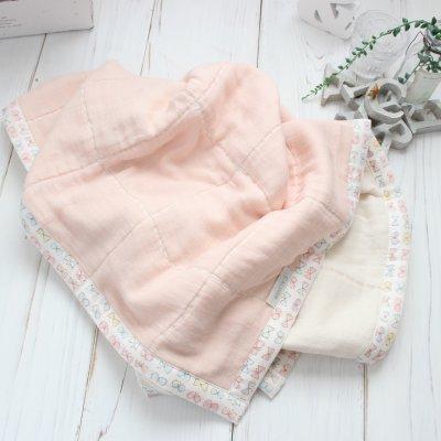【送料300円】ピンクに白いちょうちょリボン柄のガーゼケット(おくるみ/ひざかけ)出産祝いやひざかけに