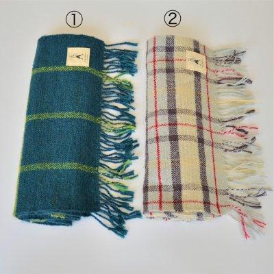 アルパカ手織りストール格子柄①薄紅色②薄紺色