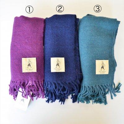 アルパカ手織りストール①紅紫色②紺青色③浅葱色