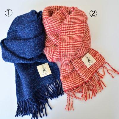 アルパカ手織りストール格子柄①青紺②赤チェック