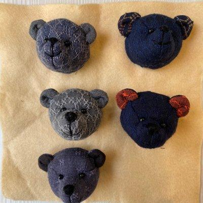 5個セット クマのぬいぐるみバッジ【No1】琉球花織