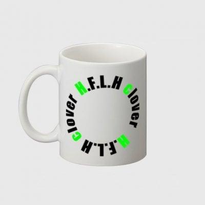 オリジナルロゴ(HFLHCLOVER)シンプルマグカップ ロゴ黒 ロゴグレー ギフト プレゼント 雑貨
