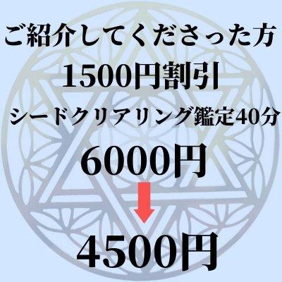 【ご紹介してくださった方専用】1500円割引シードクリアリング40分鑑定