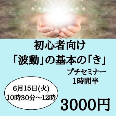 6月15日 火曜日 10時半〜12時 初心者向け 「波動」の基本の「き」プチセミナー (3名限定)