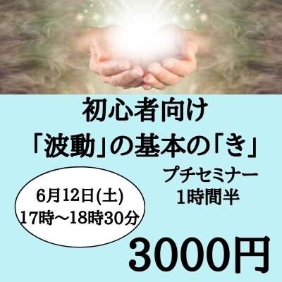 6月12日 土曜日 13時〜14時半 初心者向け 「波動」の基本の「き」プチセミナー (3名限定)