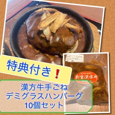 ★漢方牛手ごねデミグラスハンバーグ10個セット(冷凍)★コロナに負ける...