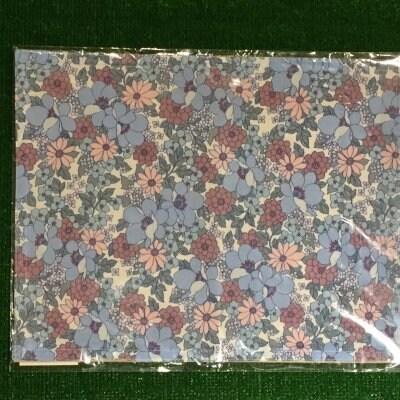 木糸・花柄ランチョンマット水色