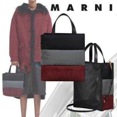 MARNI (マルニ) キルティングナイロン MUSEO SOFT ダブルハンドルバッグ