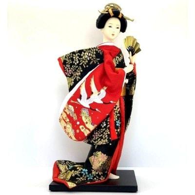 京みやげ/日本人形/鶴刺繍/12インチ/約30センチ