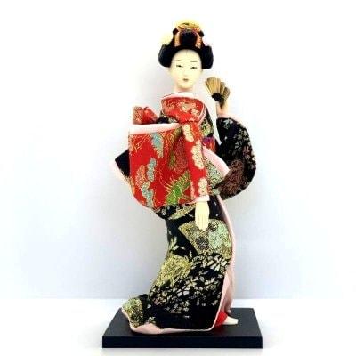 京みやげ/日本人形/扇子/9インチ/約23センチ