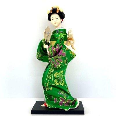 京みやげ/日本人形/うちわ/9インチ/約23センチ
