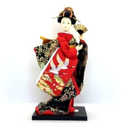 日本人形/鶴刺繍/9インチ/約23センチ