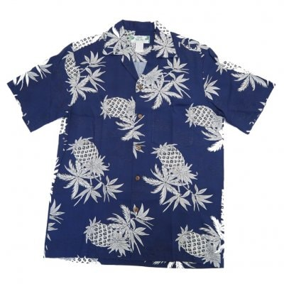 メンズ アロハシャツ [パイナップルマップ/ネイビー/レーヨン] Two Palms