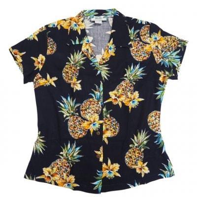 レディース アロハシャツ[ゴールデンパイナップル/ネイビー/レーヨン]Two Palms