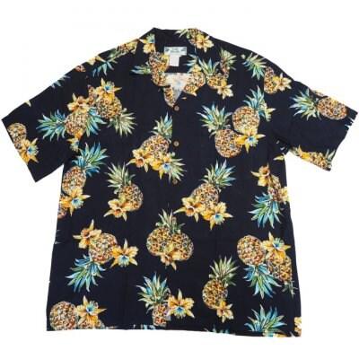 メンズ アロハシャツ [ゴールデンパイナップル/ネイビー/レーヨン] Two Palms