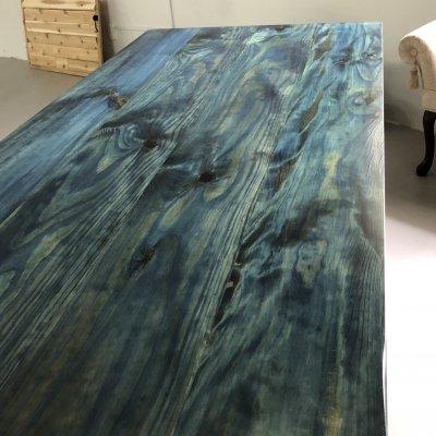 琉球松を琉球藍で藍染した家具 AIJUダイニングテーブルW120