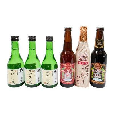 金賞スワンレイクビール3本セット+新潟地酒・久須美酒造 清泉 コピリンコ&こぴりんこ3本セット。