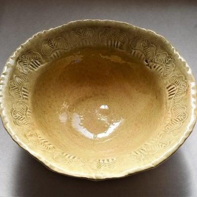 天然土灰釉深鉢