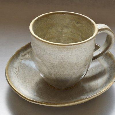 白釉コーヒーカップ&ソーサ―1客
