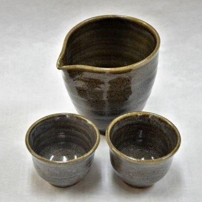 黄瀬戸長石釉酒器3点セット(片口+ぐい呑み2)