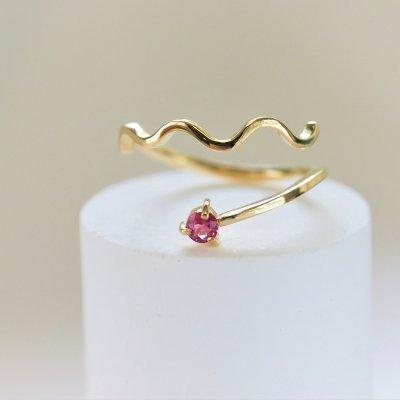 薔薇色ピンクサファイア K18リング