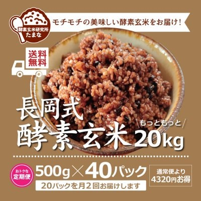 [定期便][送料無料]500g ×40パック長岡式酵素玄米