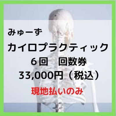 カイロプラクティック 回数券 6回【現地払のみ】