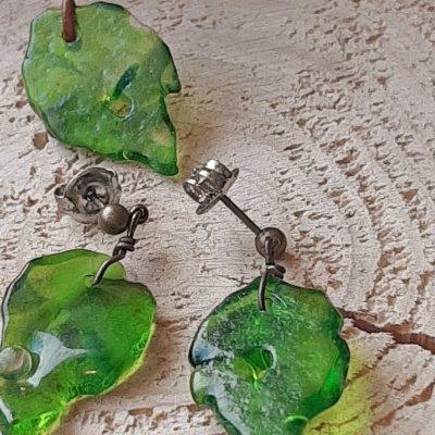 【一点もの】中山薫制作 葉っぱのガラスピアスとネックレスの3点セット