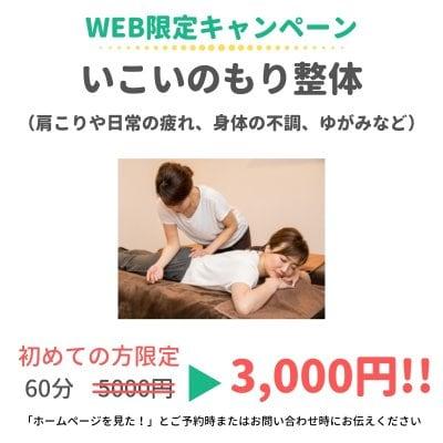 【WEB限定キャンペーン】いこいのもり整体 60分(肩こりや日常の疲れ、身体の不調、ゆがみなど)