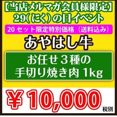 ③【メルマガ会員様限定 肉の日イベント あやはし お任せ3種の手切り焼...