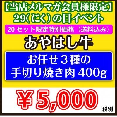 ④【メルマガ会員様限定 肉の日イベント あやはし お任せ3種の手切り焼...