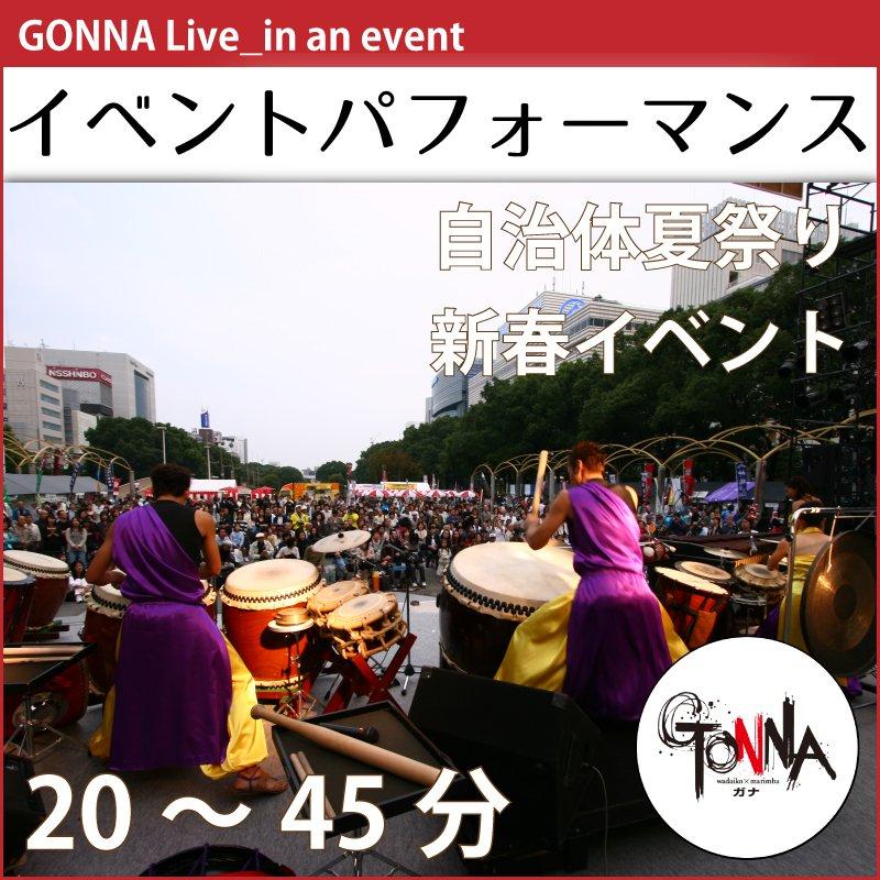 ガナライブ|イベントパフォーマンス|和太鼓×マリンバ=迫力×癒しインストゥルメンタルミュージック|主催者様用ウェブチケットのイメージその1