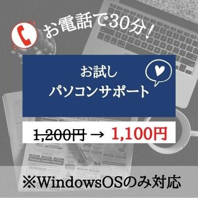 【電話で30分!お試しパソコンサポート】WindowsOSのみ対応