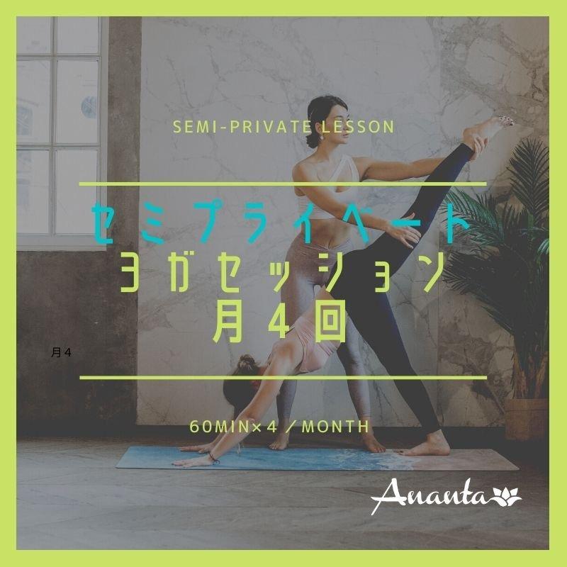 【月謝】セミプライベート(ペア)ヨガ 60分4回チケットのイメージその1