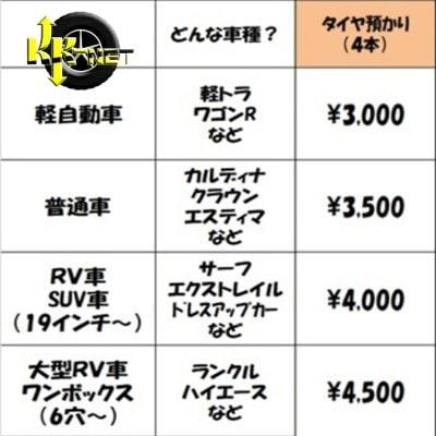 KK-NET 軽自動車の「タイヤ預かり」3000円