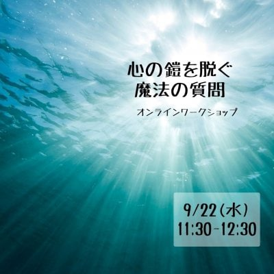 【zoom】9/22(水) 11:30『心の鎧を脱ぐ魔法の質問』オンラインワークショップ(60分)・webチケット★高ポイント
