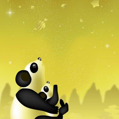 【年中】A4イラスト No.037 パンダの星