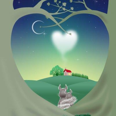ポストカード(5枚セット)162 Green night Love