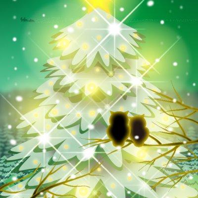 【クリスマス】A4イラスト No.181 Green Night Christmas