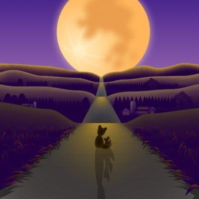 【秋】A4イラスト No.189 次代を灯す名月の道