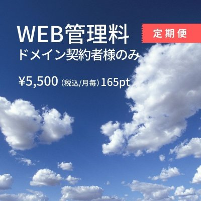 【定期便(サブスク)】WEB管理料ドメイン契約者様のみ¥5,500/月