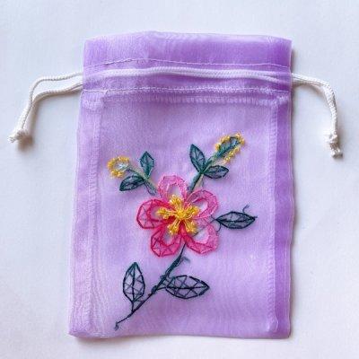 透る巾着袋11x15「ベトナム雑貨・刺繍」